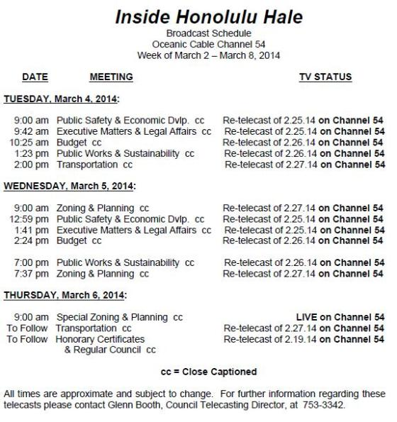Inside Honolulu Broadcast Schedule